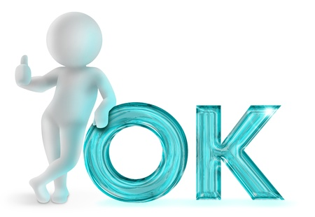 acceptation: 3d man leaning on  ok  sign on white background