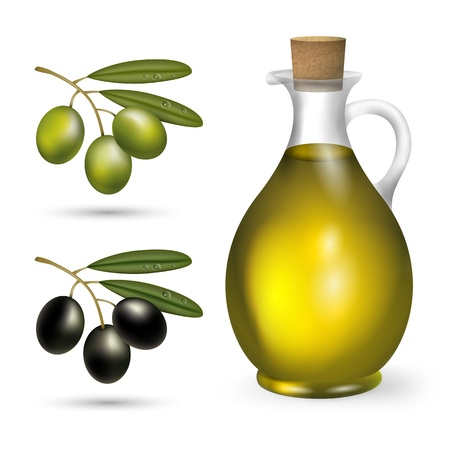 extra virgin olive oil: small bottle of olive oil with green and black olives
