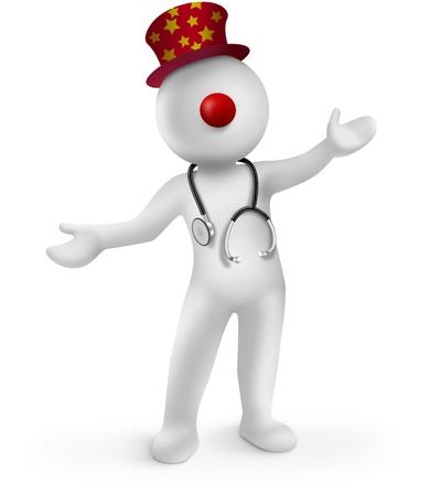 3d clown doctor with red nose on white background Stock Photo