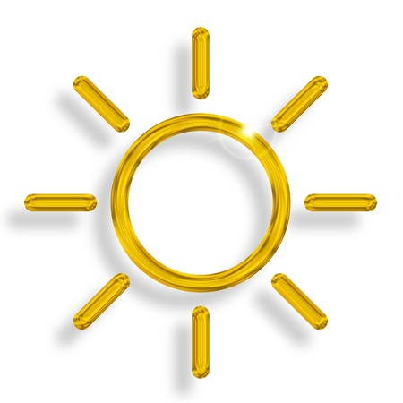 shining sun with sunbeams on white background