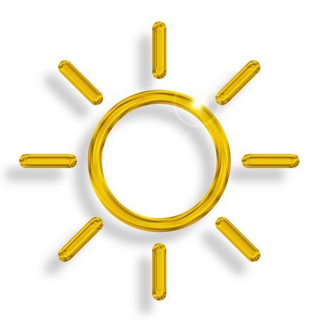 stralende zon met zonnestralen op een witte achtergrond