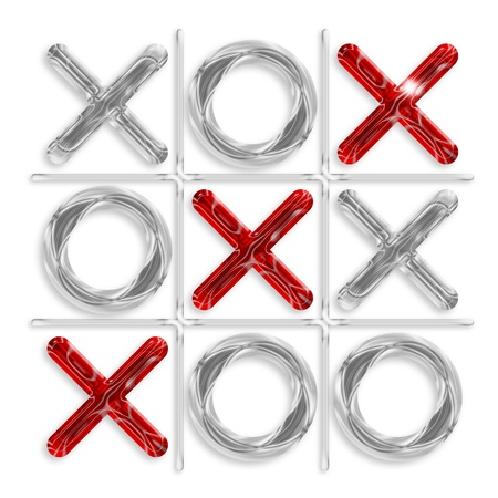 toe: game of tic-tac-toe  with diagonal of red crosses   Stock Photo