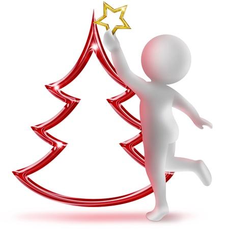 3d menselijke figuur siert de kerstboom Stockfoto