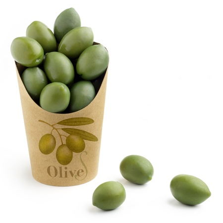 green olives in a bag on white background photo