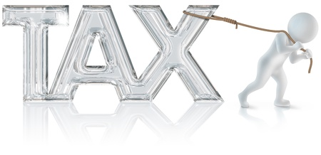 3d man who drags the  tax  sign with a rope photo
