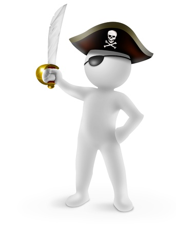 sabel: 3d piraat met sabel op een witte achtergrond Stockfoto