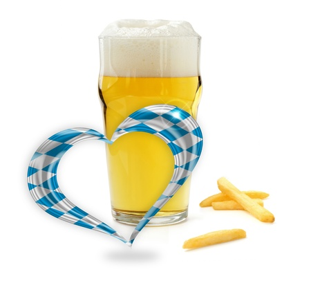 glass of beer, french fries and a heart with bavarian flag colors photo