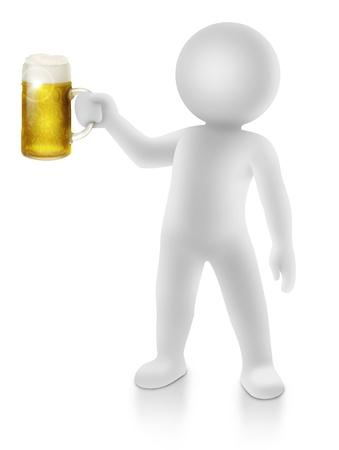 3d mens die een toost maakt met een pul bier Stockfoto