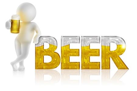 hombre tomando cerveza: Hombre 3d con el lanzador apoyado en la palabra cerveza Foto de archivo
