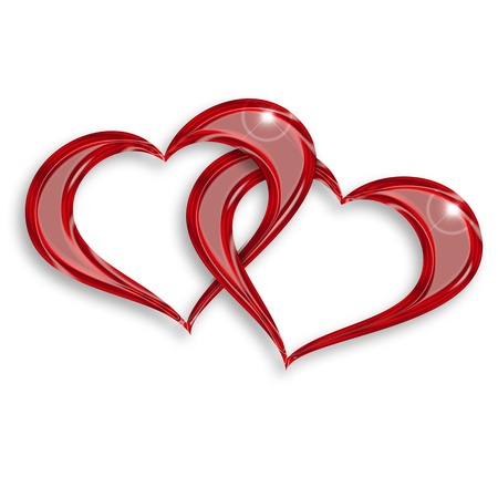 two hearts: illustration of two entwined hearts on white background Stock Photo