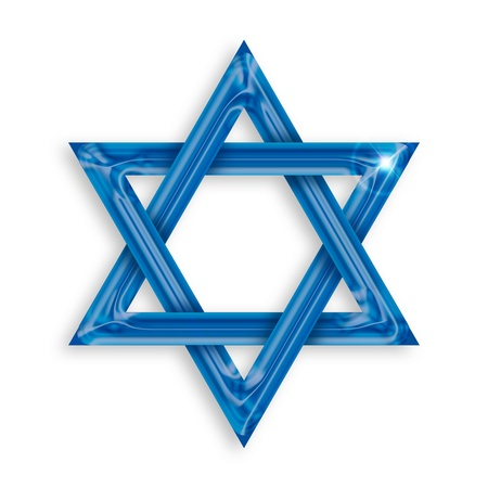 Illustration of blue hexagram on white background