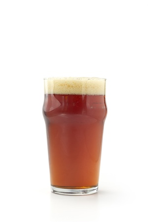 beer pint: pint of red beer isolated on white background