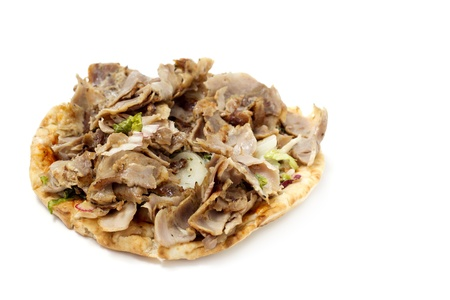 close up of open kebab sandwich isolated on white background photo