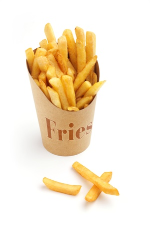 chips: french fries in a paper wrapper on white background