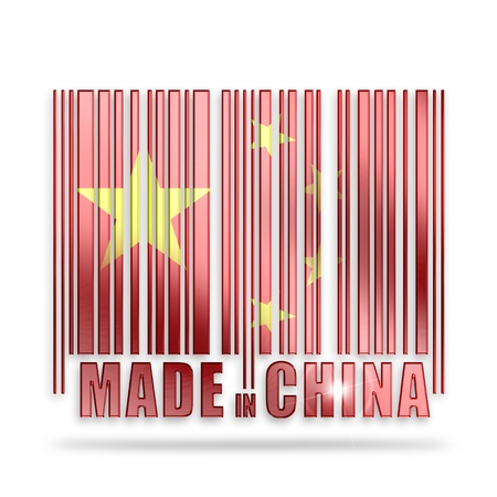 made in china: bar code with chinese flag colors on white background
