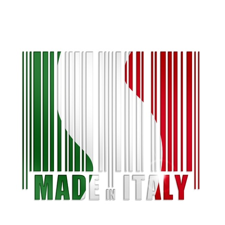made in italy: barcode with italian flag colors on white background Stock Photo