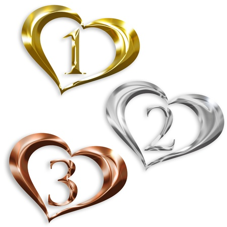 argent: illustration of gold, silver, bronze medals in the shape of heart