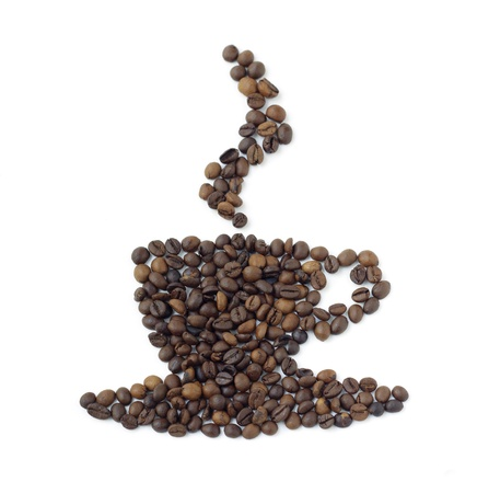 coffee beans in shape of steaming cupful photo