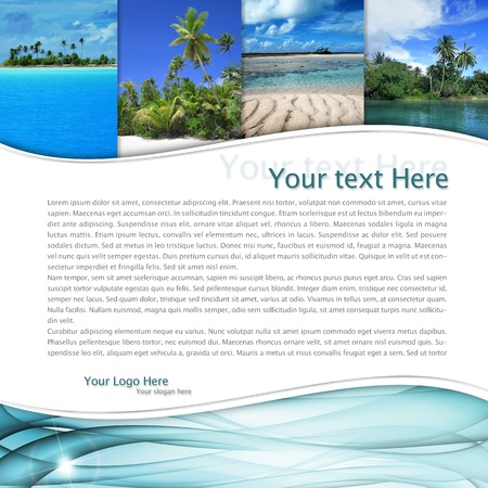 layout with tropical landscape and a blue wave Stock Photo