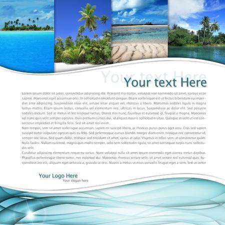 voyage: mise en page avec un paysage tropical et une vague bleue
