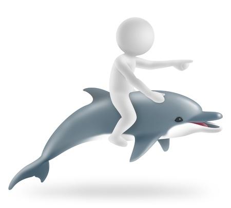 swim boy: illustration of boy riding on a dolphin