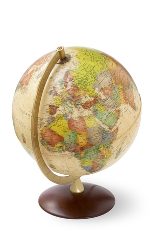 illustrated globe: close up of an antique globe on white background