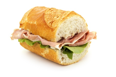 close up of a sandwich on white background photo