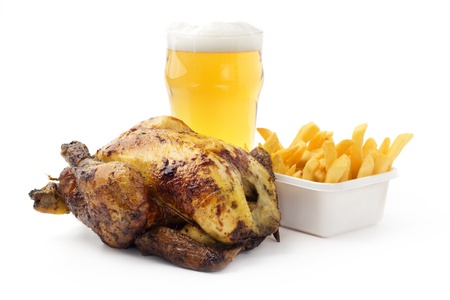 roasted chicken with french fries and light beer photo
