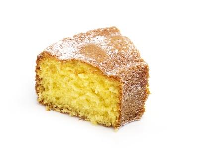 plakje cake geïsoleerd op witte achtergrond Stockfoto
