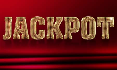 roulette online: illustration of the word jackpot on a red background