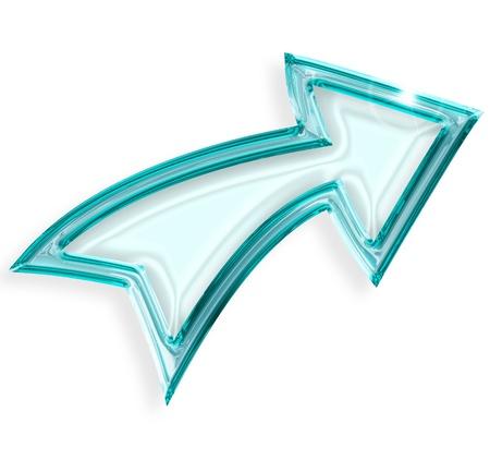 blauwe pijl die naar rechts wijst op een witte achtergrond