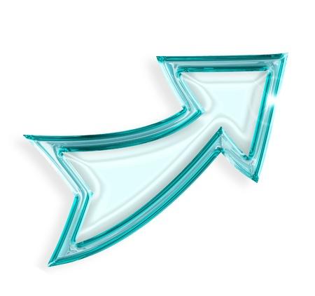 rising graphic: upward arrow isolated on white background