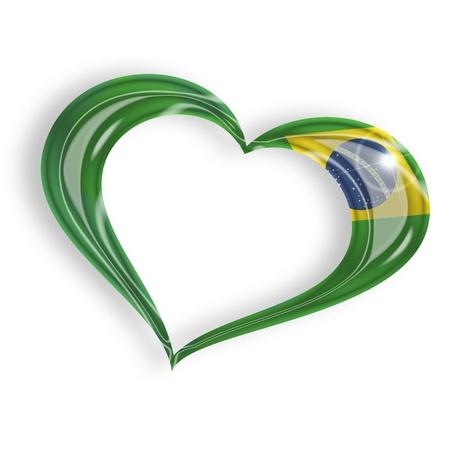 coeur avec le drapeau brésilien isolé sur fond blanc
