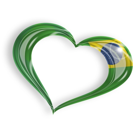 brazil country: heart with brazilian flag  isolated on white background