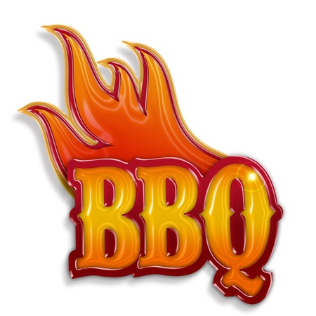 hot barbecue label isolated on white background photo