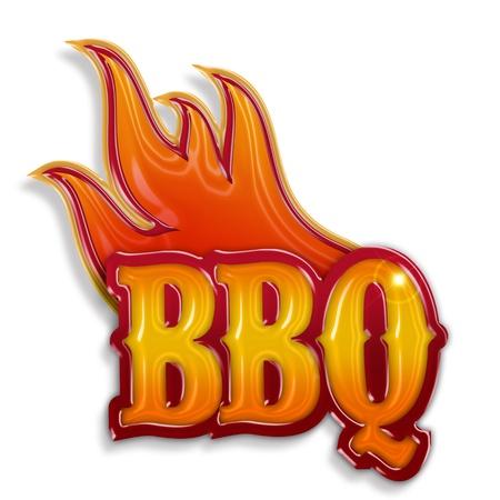 barbecue: �tiquette barbecue chaud isol� sur fond blanc
