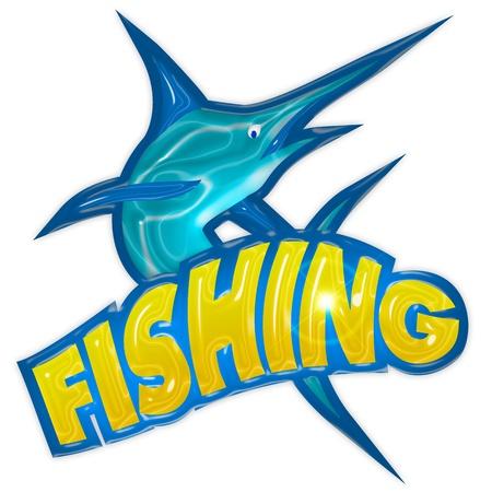 pez espada: insignia de la pesca con pez espada aislada sobre fondo blanco