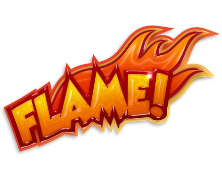 blazes: word  flame  and blazes on white background