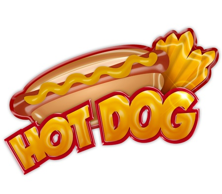 hot dog: hot dog label isolated on white background Stock Photo