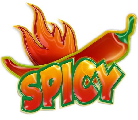 chili pepper: chili pepper and blaze on white background