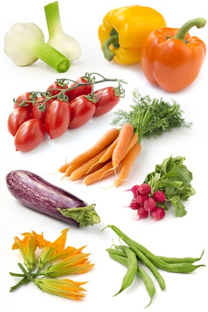 set of fresh vegetables on white background photo