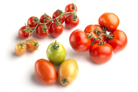 cherry varieties: tomato varieties isolated on white background