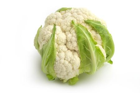 head of cauliflower: close up of cauliflower isolated on white background