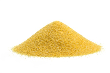 grits: heap of cornmeal isolated on white background