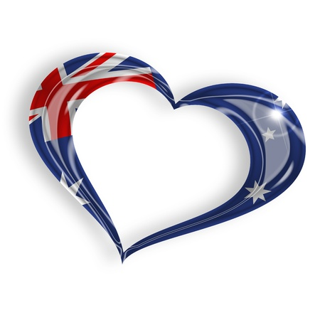 mainland: heart with australian flag on white background