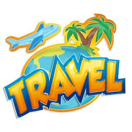 travel cartoon: travel sign with palms and airplane on white background