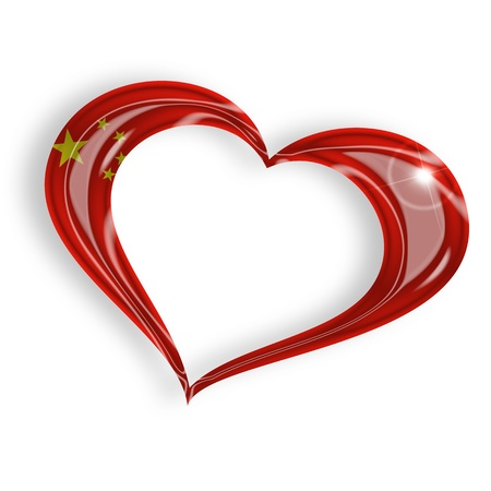 heart with chinese flag on white background photo
