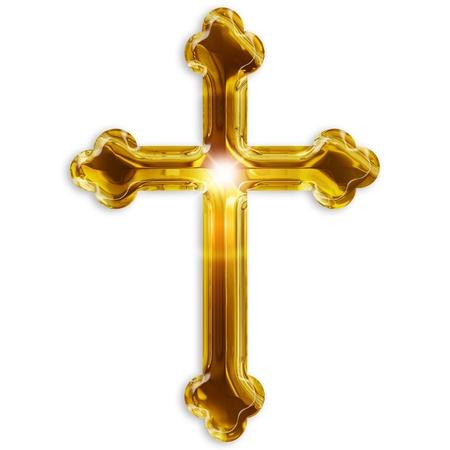 cruz religiosa: símbolo religioso del crucifijo aislado en el fondo blanco