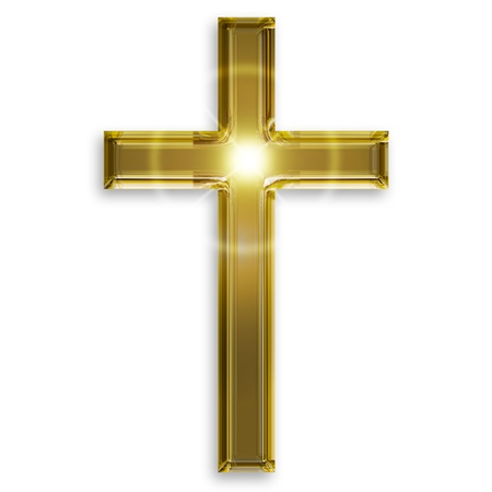 cross light: golden symbol of crucifix isolated on white background