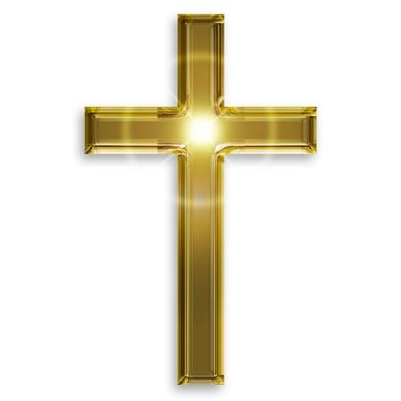 cruz religiosa: s�mbolo de oro del crucifijo aislado en el fondo blanco